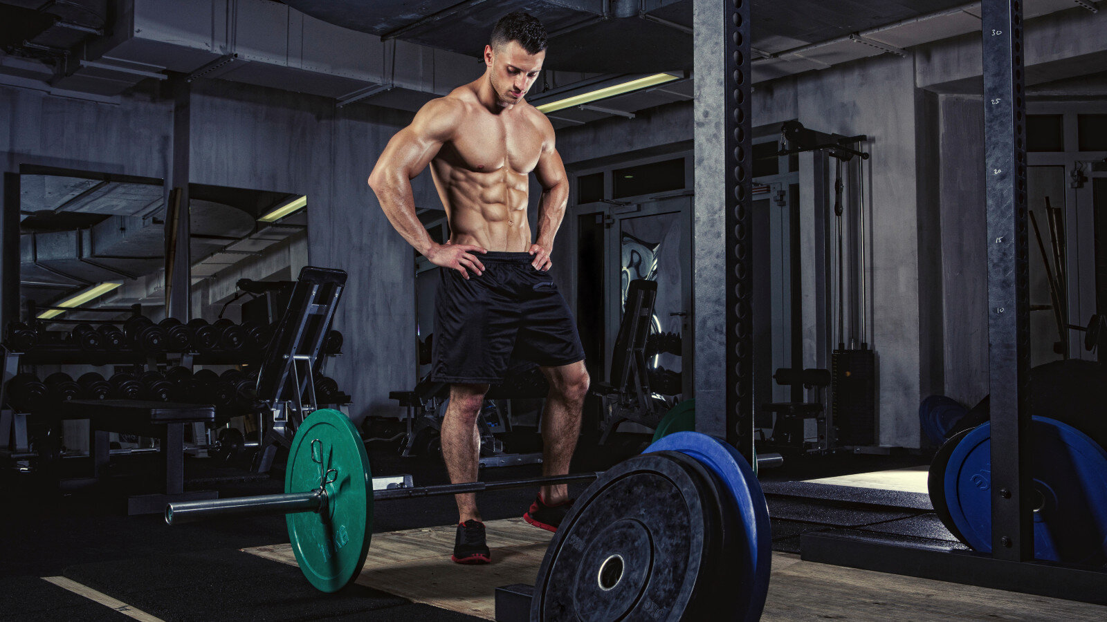 Physical athlete preparing for weightlifting